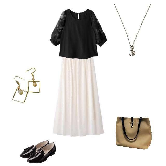 「ガーリー・フェミニン、飲み会」に関するGUのマキシ丈スカート、ITS'DEMOのトートバッグ等を使ったコーデ画像