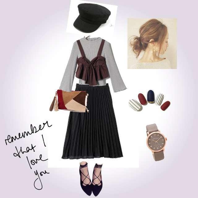 「ナチュラル・リラックス、女子会、秋色コーデ」に関するRETRO GIRLのビスチェ、GUのプリーツスカート等を使ったコーデ画像