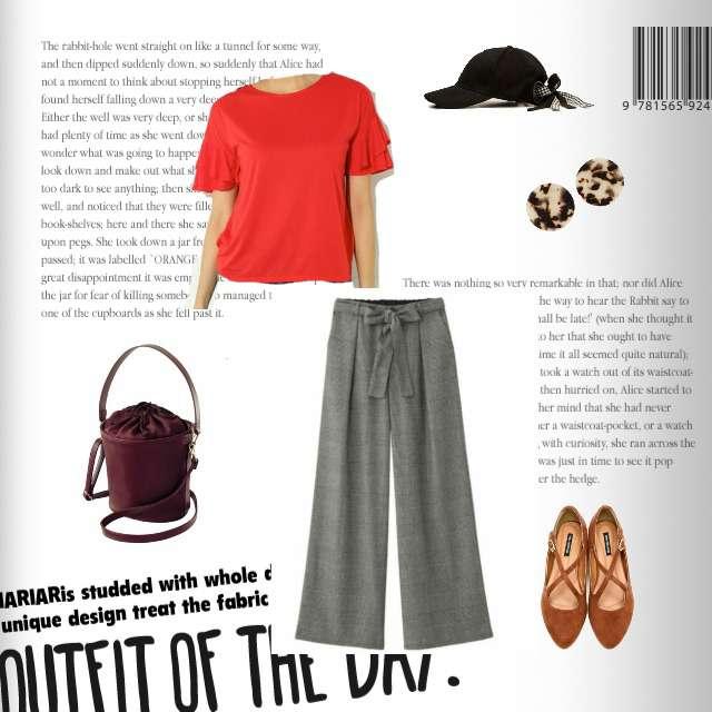 「カジュアル、おでかけ」に関するGUのワイドパンツ、NBBのフラットシューズ等を使ったコーデ画像