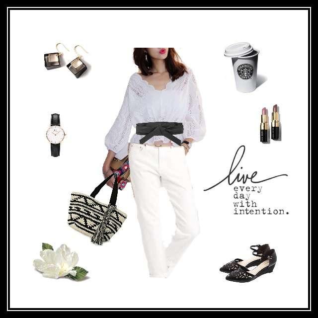 「シンプル、カフェ」に関する手作りのシャツ/ブラウス、UNIQLOのデニムパンツ等を使ったコーデ画像
