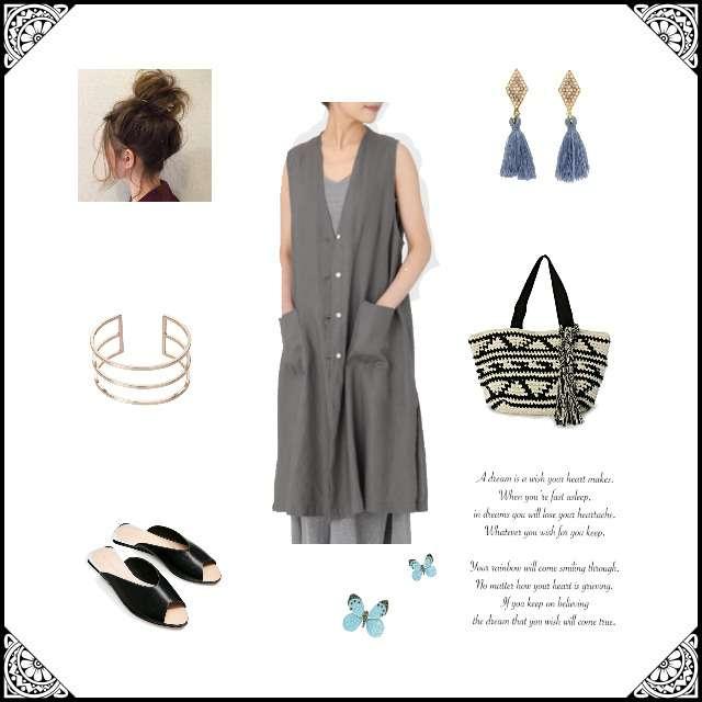 「シンプル、お散歩」に関するMUJI(無印良品)のシャツワンピ、ZARAのサンダル等を使ったコーデ画像