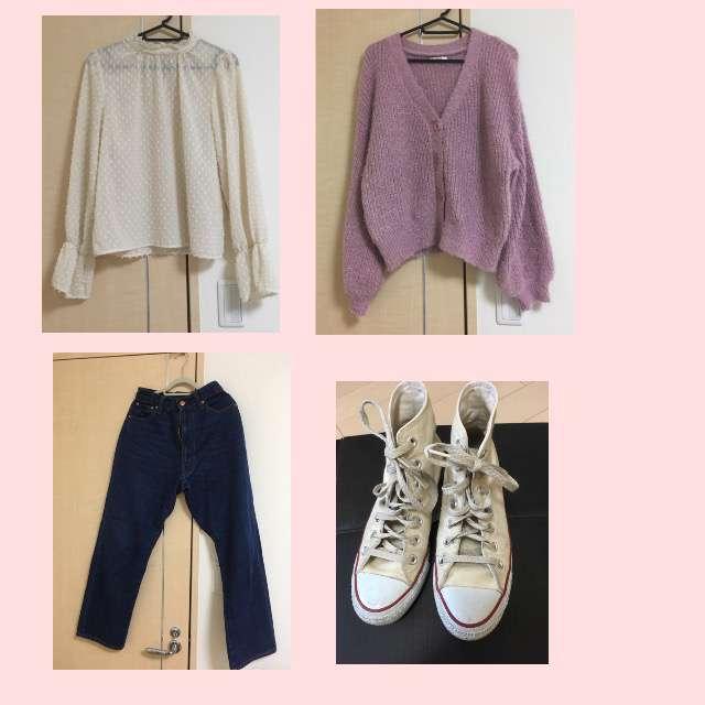 「シンプル」に関するApres jourのカーディガン、w closetのシャツ/ブラウス等を使ったコーデ画像