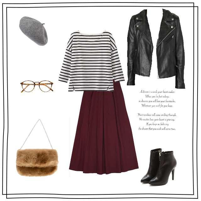 「モード・ハイエンド、おでかけ」に関するGUのTシャツ/カットソー、merlotのマキシ丈スカート等を使ったコーデ画像