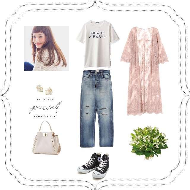 「休日、ガウン、スニーカー、白Tシャツ、着回し」に関するbellemaisonのTシャツ/カットソー、Ungridのデニムパンツ等を使ったコーデ画像