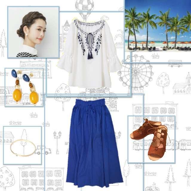 「着回し、第32回コンテスト、夏コーデ」に関するViSのシャツ/ブラウス、Ciaopanicのマキシ丈スカート等を使ったコーデ画像