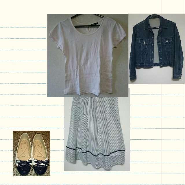 「春、秋」に関するTシャツ/カットソー、ひざ丈スカート等を使ったコーデ画像