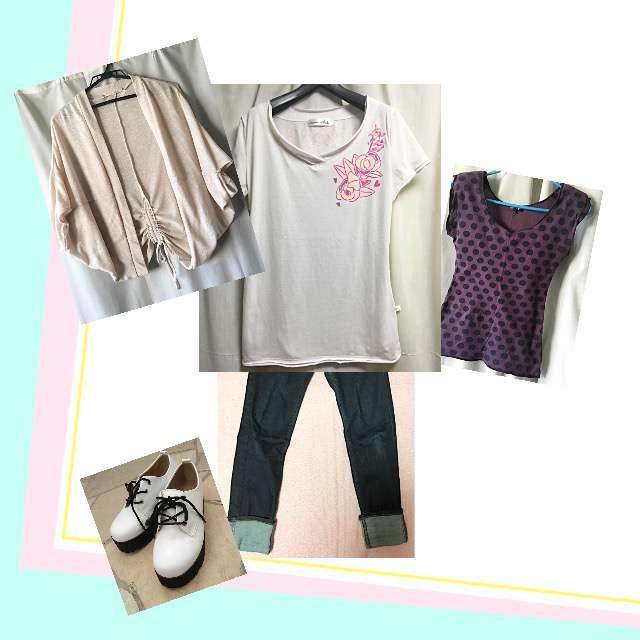 pink adobeのカーディガン、KAWAI OKADAのTシャツ/カットソー等を使ったコーデ画像
