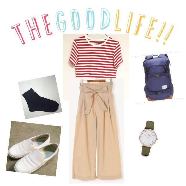 「カジュアル、学校」に関するGreen ParksのTシャツ/カットソー、Lugnoncureのワイドパンツ等を使ったコーデ画像
