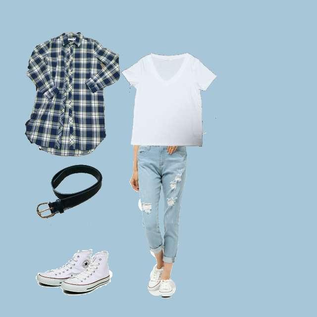 CECIL McBEEのシャツ/ブラウス、CECIL McBEEのTシャツ/カットソー等を使ったコーデ画像
