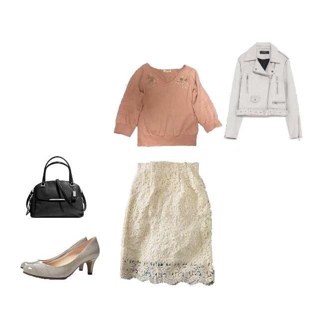 「オフィス」に関するBE RADIANCEのニット/セーター、ROPE' PICNICのひざ丈スカート等を使ったコーデ画像