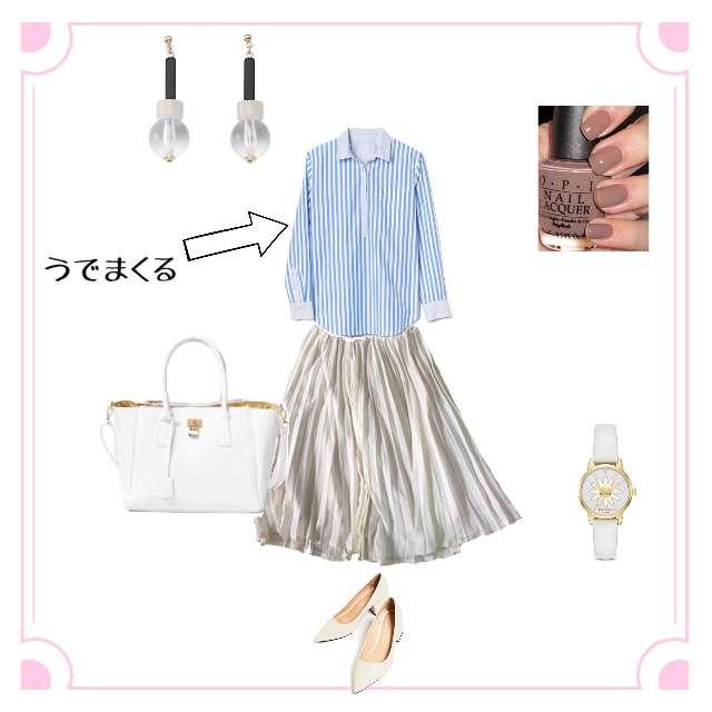 「ガーリー・フェミニン、おでかけ」に関するシャツ/ブラウス、CINEMA CLUBのフレアスカート等を使ったコーデ画像