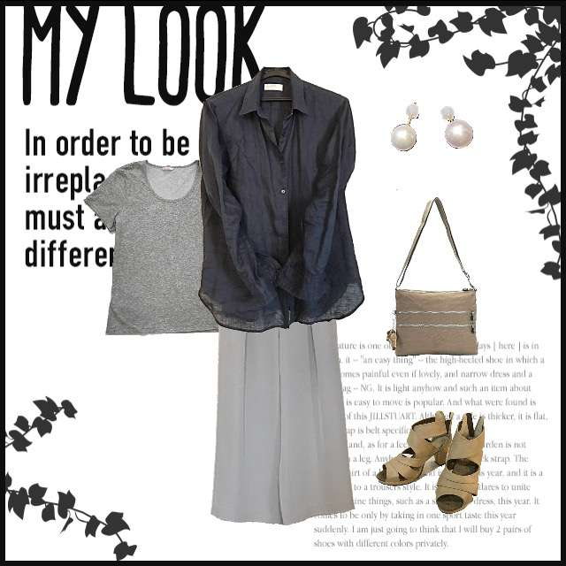「シンプル、通勤」に関するUNIQLOのTシャツ/カットソー、UNIQLOのシャツ/ブラウス等を使ったコーデ画像