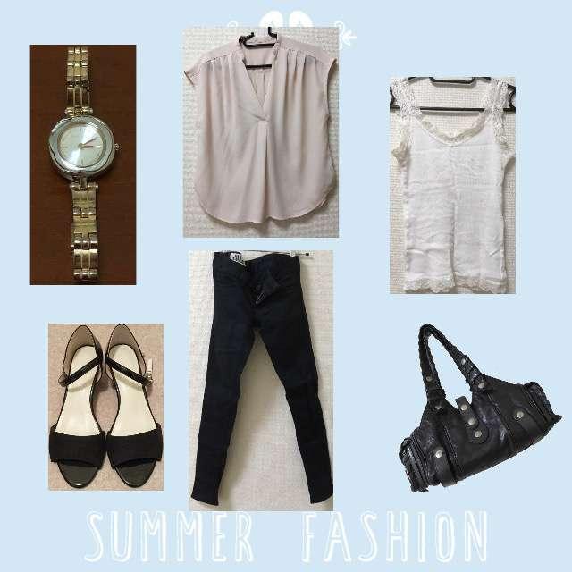 「シンプル、休日、オフィス」に関するViSのTシャツ/カットソー、UNIQLOのキャミソール/タンクトップ等を使ったコーデ画像