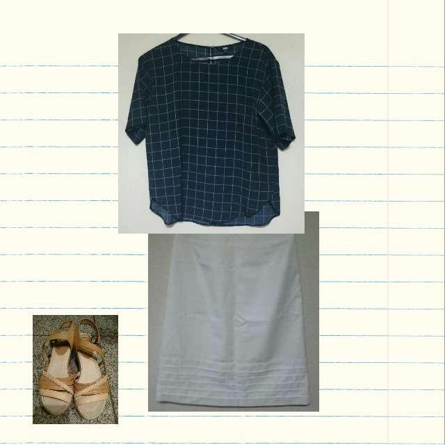 「夏」に関するUNIQLOのシャツ/ブラウス、REMIXのひざ丈スカート等を使ったコーデ画像