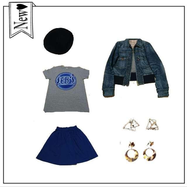 手作りのTシャツ/カットソー、しまむらのひざ丈スカート等を使ったコーデ画像
