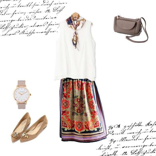 Tシャツ/カットソー、antiquaのミモレ丈スカート等を使ったコーデ画像