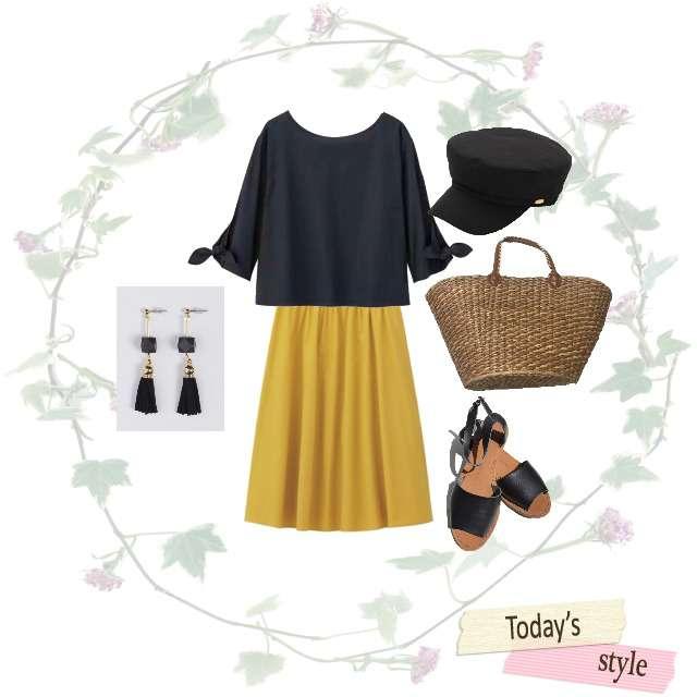 「シンプル、休日」に関するGUのシャツ/ブラウス、GUのミモレ丈スカート等を使ったコーデ画像