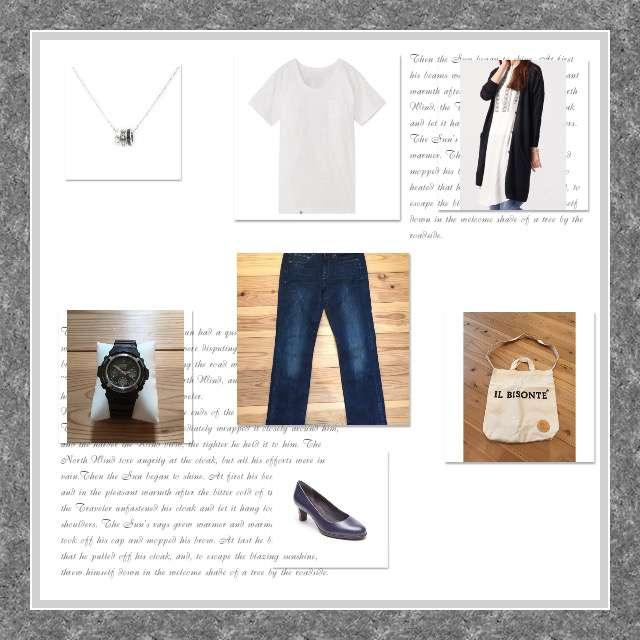 GLOBAL WORKのカーディガン、MUJI(無印良品)のTシャツ/カットソー等を使ったコーデ画像
