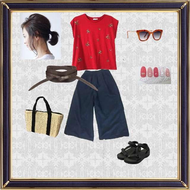 「ナチュラル・リラックス、晴れの日、#赤Tシャツ  #ワイドパンツ #サンダル #サングラス」に関するAG by aquagirlのTシャツ/カットソー、パンツ等を使ったコーデ画像
