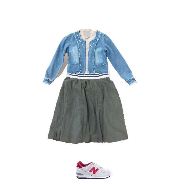 HONEYSのシャツ/ブラウス、しまむらのひざ丈スカート等を使ったコーデ画像