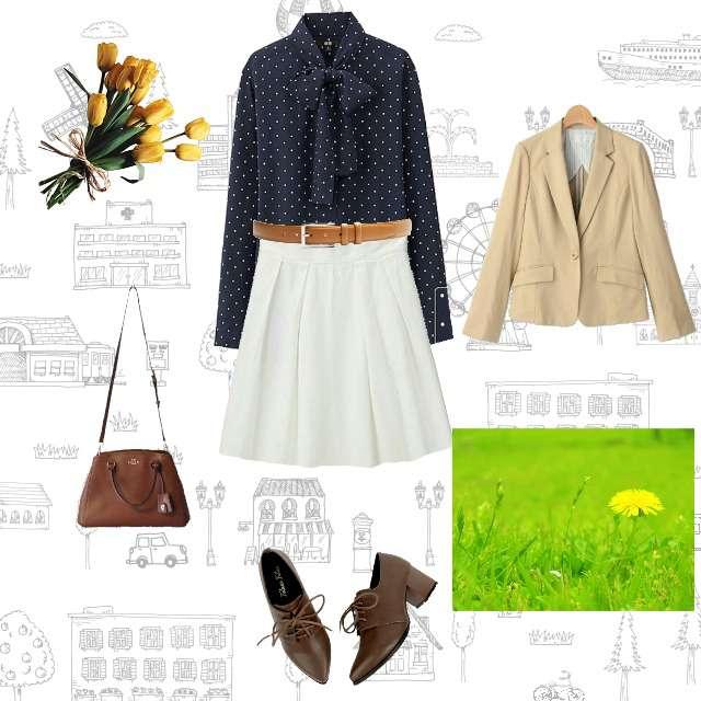 「ガーリー・フェミニン、春、スカート、ドット」に関するUNIQLOのシャツ/ブラウス、ひざ丈スカート等を使ったコーデ画像