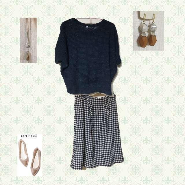 「オフィス」に関するニット/セーター、ICHIのミモレ丈スカート等を使ったコーデ画像