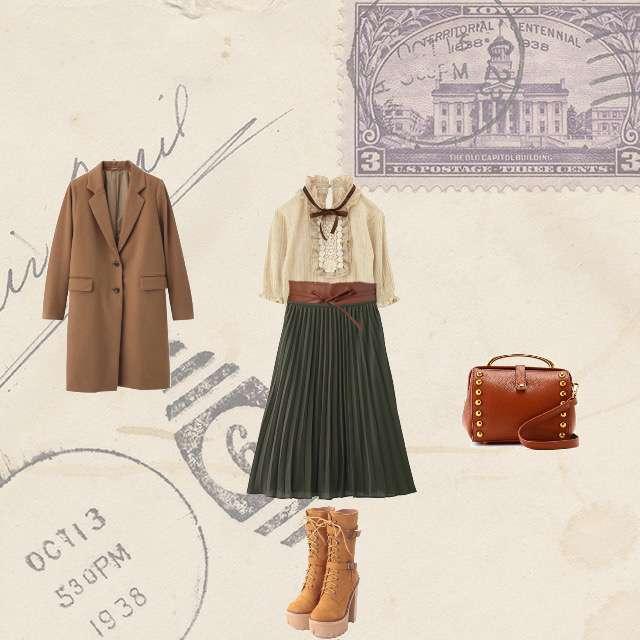 「コンサバ・エレガント、イギリス」に関するaxes femmeのシャツ/ブラウス、GUのプリーツスカート等を使ったコーデ画像