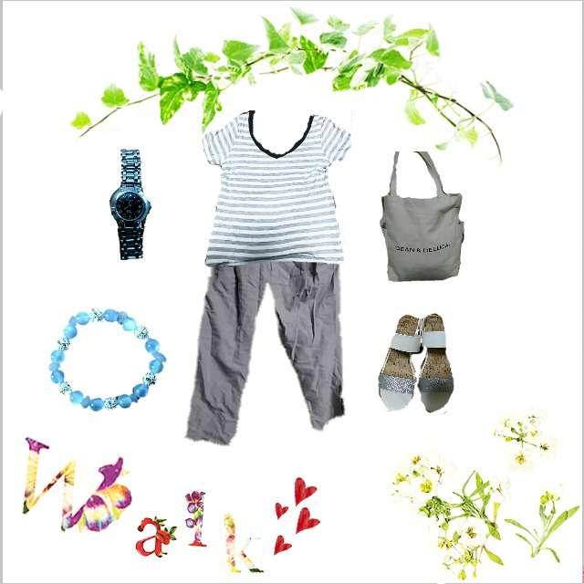「シンプル、お散歩」に関するINEDのTシャツ/カットソー、COMME CA ISMのクロップドパンツ等を使ったコーデ画像