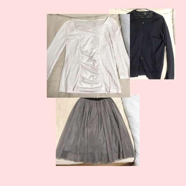 amo-amas-amaのTシャツ/カットソー、UNIQLOのカーディガン等を使ったコーデ画像