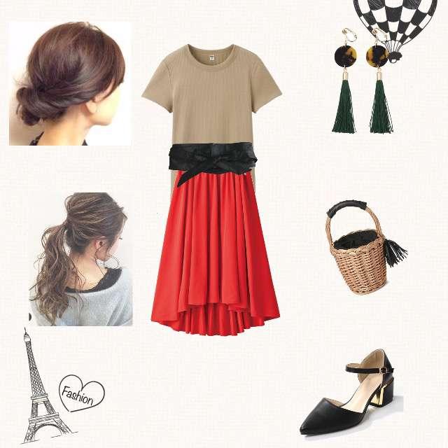 「シンプル、休日」に関するUNIQLOのTシャツ/カットソー、しまむらのフレアスカート等を使ったコーデ画像