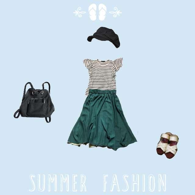 「おでかけ、学校、21~25度、26度~、お気に入り」に関するINGNIのTシャツ/カットソー、ROPE' PICNICのミモレ丈スカート等を使ったコーデ画像