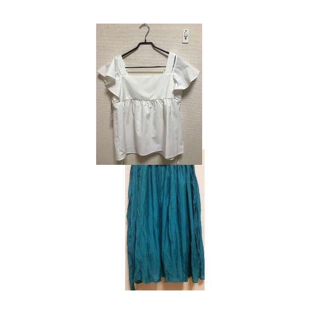 ROPE' PICNICのオフショルダー、SUZUTANのミモレ丈スカート等を使ったコーデ画像