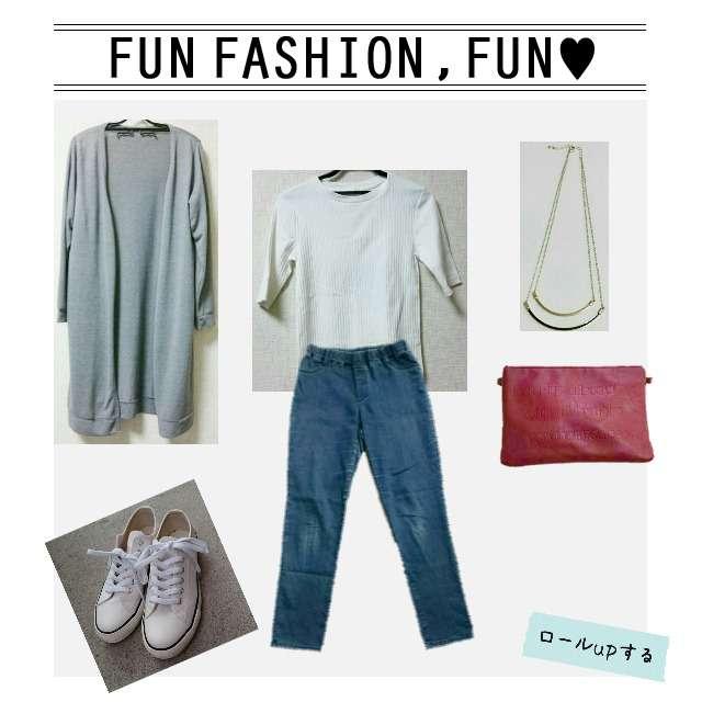 「シンプル、お散歩」に関するGUのTシャツ/カットソー、しまむらのカーディガン等を使ったコーデ画像