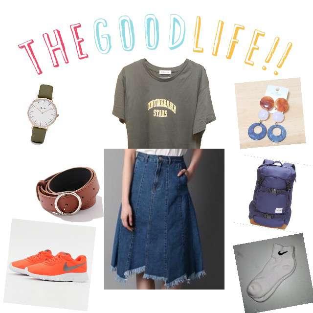 「カジュアル、学校」に関するWEGOのTシャツ/カットソー、Right-onのデニムスカート等を使ったコーデ画像