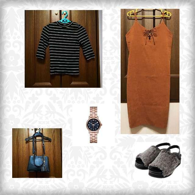 GUのTシャツ/カットソー、EMSEXCITEのひざ丈ワンピ等を使ったコーデ画像