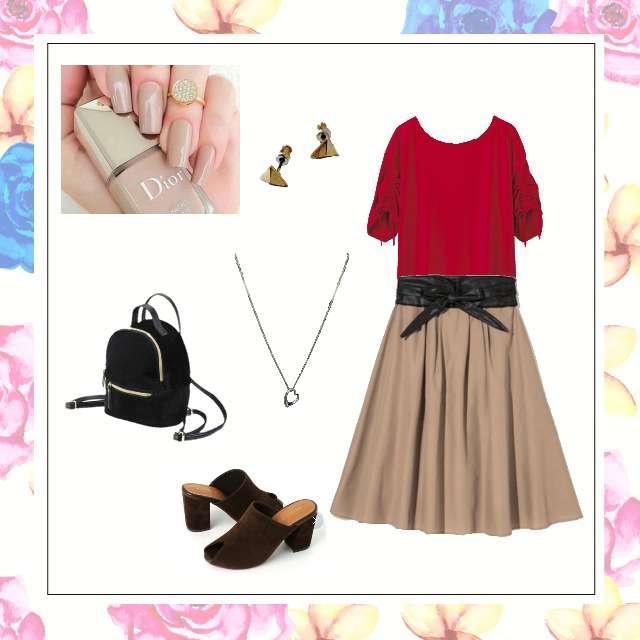 「コンサバ・エレガント、女子会」に関するGRLのひざ丈スカート、GUのリュック等を使ったコーデ画像