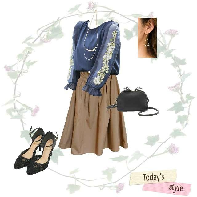 「デート」に関するtocco closetのシャツ/ブラウス、ASTORIA ODIERのひざ丈スカート等を使ったコーデ画像