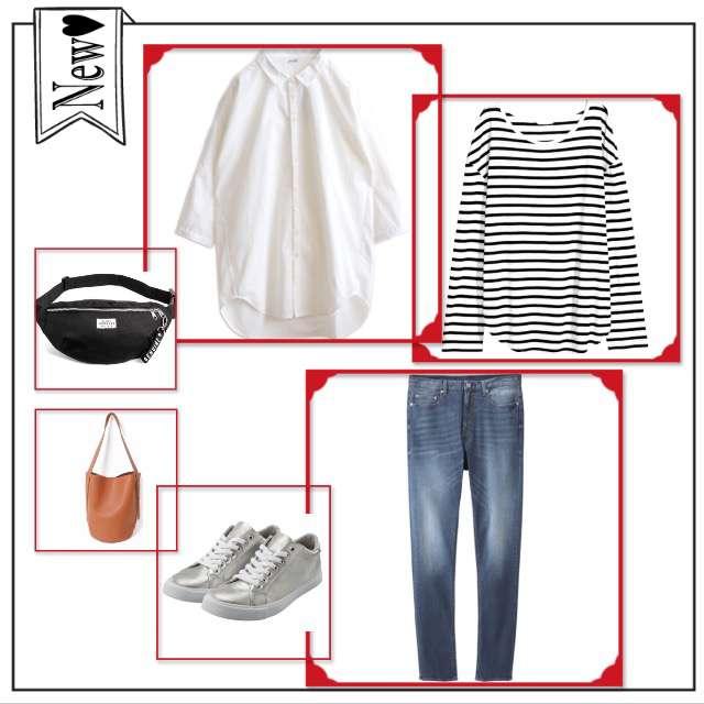 H&MのTシャツ/カットソー、GUのデニムパンツ等を使ったコーデ画像