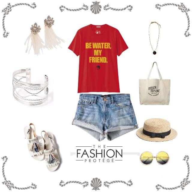 「ガーリー・フェミニン、おでかけ、着回し、カジュアル」に関するGUのTシャツ/カットソー、ショートパンツ等を使ったコーデ画像