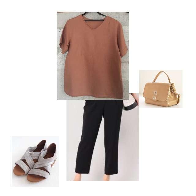 Mila OwenのTシャツ/カットソー、Nobleのタックパンツ等を使ったコーデ画像