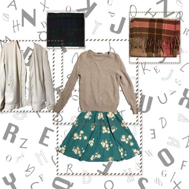 「カジュアル、休日」に関するニット/セーター、31 sons de modeのフレアスカート等を使ったコーデ画像
