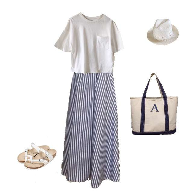 UNIQLOのTシャツ/カットソー、手作りのマキシ丈スカート等を使ったコーデ画像