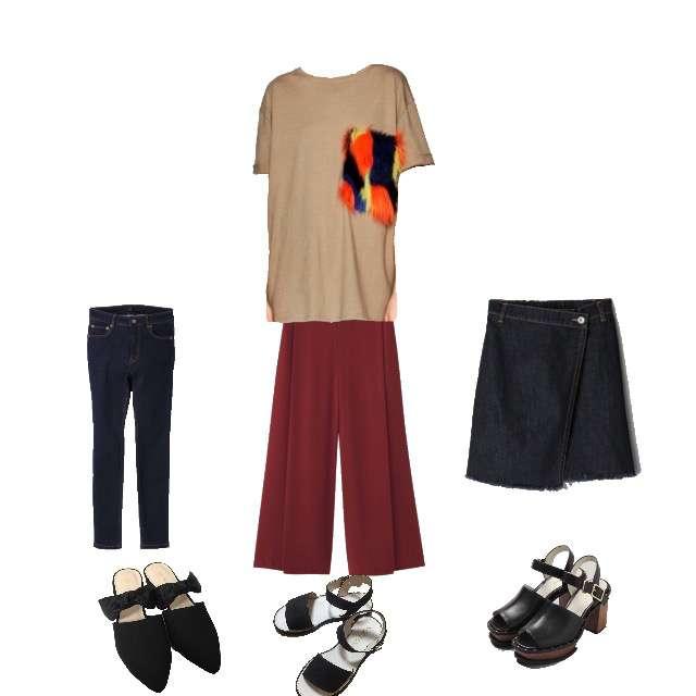 ZARAのTシャツ/カットソー、JEANASISのスキニーパンツ等を使ったコーデ画像