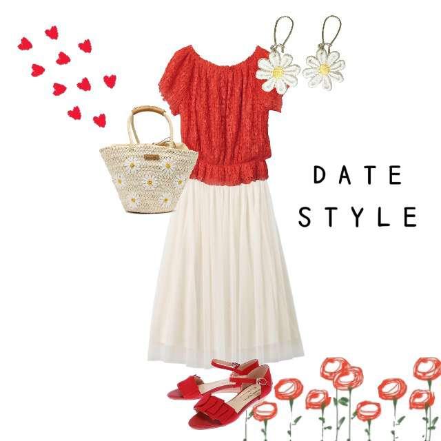 「デート、おでかけ、赤、白、お花」に関するarchivesのTシャツ/カットソー、GUのミモレ丈スカート等を使ったコーデ画像