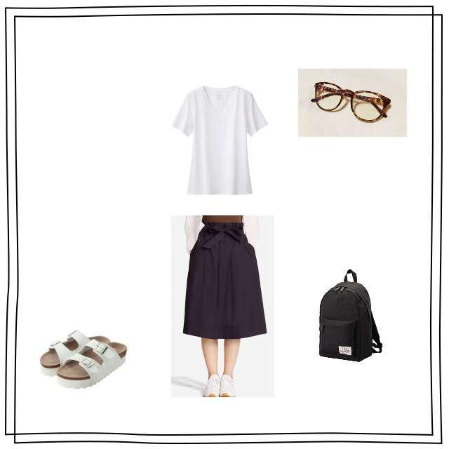GUのTシャツ/カットソー、UNIQLOのミモレ丈スカート等を使ったコーデ画像