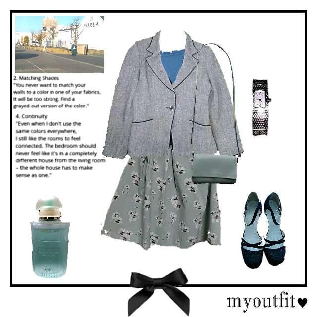 「コンサバ・エレガント、オフィス」に関するHONEYSのニット/セーター、HONEYSのひざ丈スカート等を使ったコーデ画像