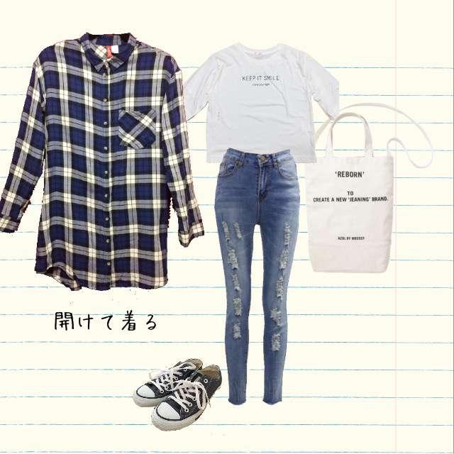 「カジュアル」に関するH&Mのシャツ/ブラウス、HONEYSのTシャツ/カットソー等を使ったコーデ画像