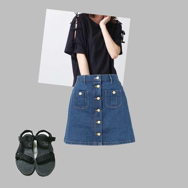 「シンプル」に関するWEGOのTシャツ/カットソー、WEGOのデニムスカート等を使ったコーデ画像