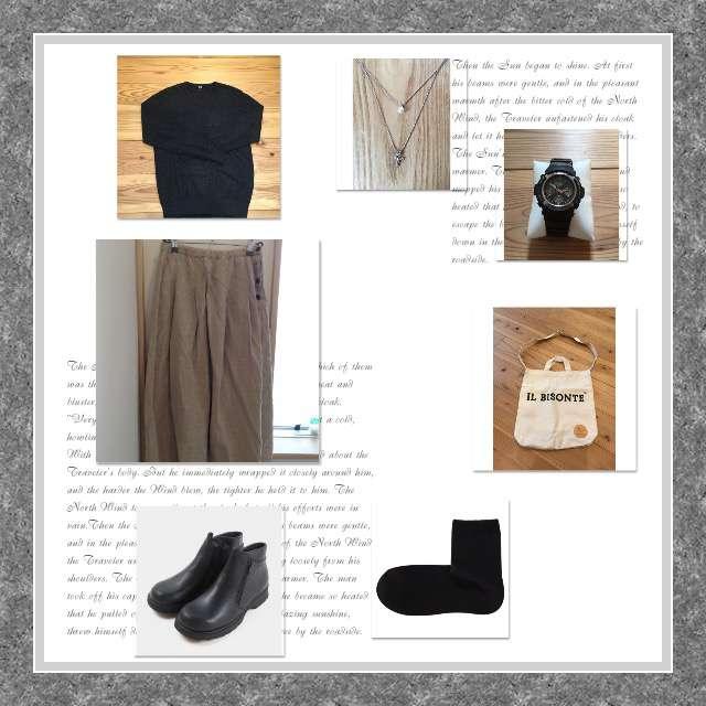 UNIQLOのニット/セーター、NATURAL LAUNDRYのスカート等を使ったコーデ画像