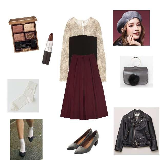「コンテスト、カフェ、着回し、プチプラ、第35回コンテスト」に関するFRAY I.DのTシャツ/カットソー、merlotのマキシ丈スカート等を使ったコーデ画像